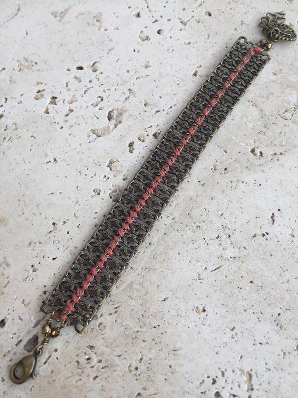 Image of Bracelet chaîne tissé CHEROKKEE BRONZE -30%