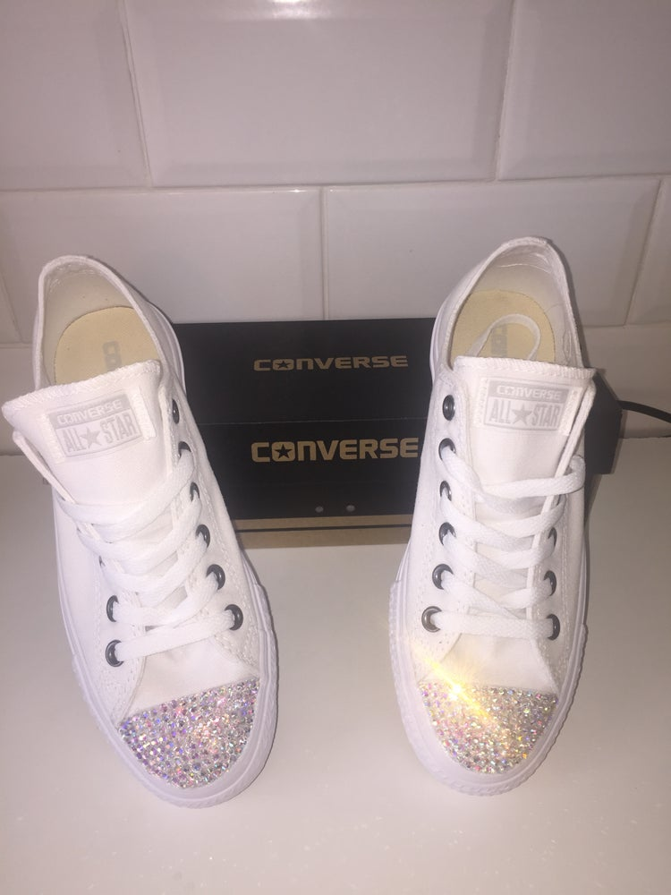 Image of All white converse with crystal shoes