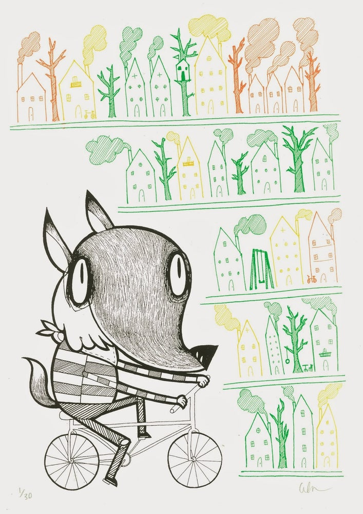 Image of A Fox About Town. A3 Screen Print.