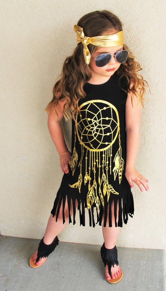 Image of Boho Babe Black & GOLD Dreamcatcher Fringe Dress, Baby Toddler Girl Boho Dress