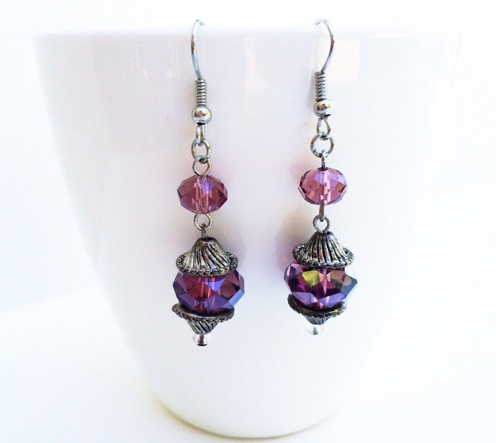 Image of Grape Juice Crystal Earrings