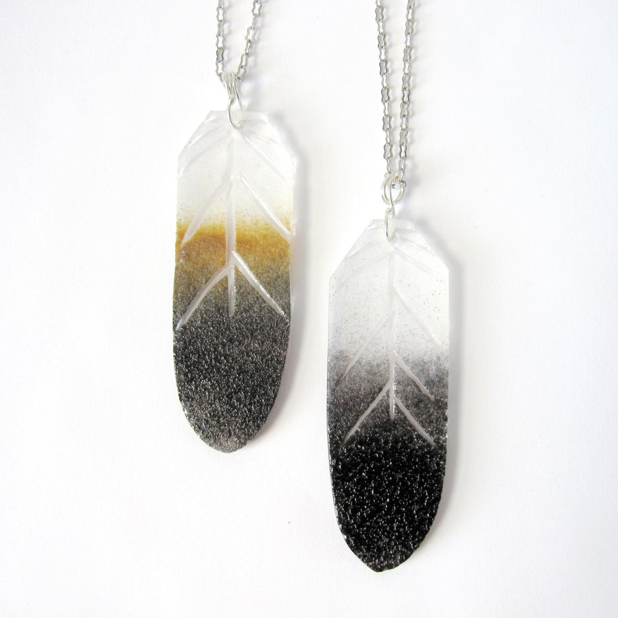 Image of Eagle Feather Glass Pendants