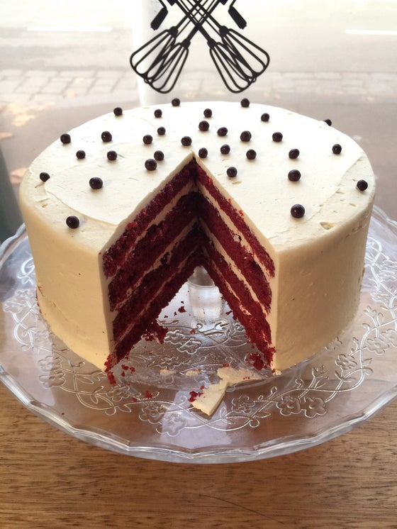Image of Red velvet layer cake with white chocolate cream cheese buttercream
