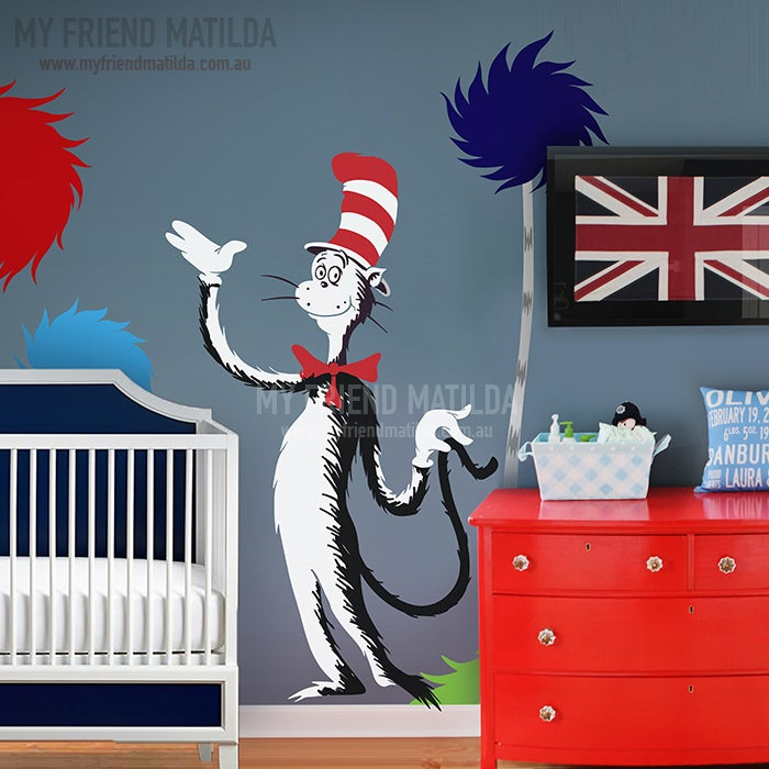 Dr seuss cat in the hat holding tail wall decal will for Dr seuss wall mural decals