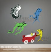 Image of New Fish Old Fish Dr Seuss Character wall decal wall sticker