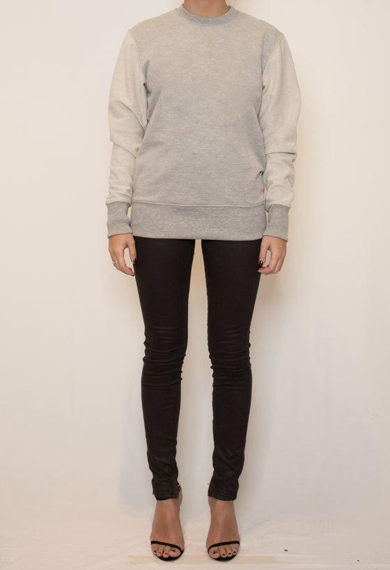 Image of Basic contrast sleeve sweatshirt - Grey Marle