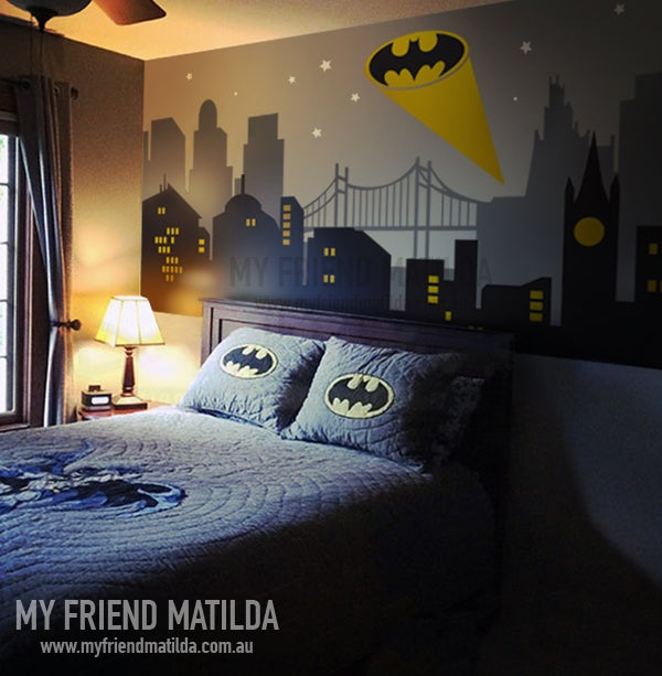 Gothan City Batman Light New York Cityscape Superhero Wall Decal Wall  Sticker