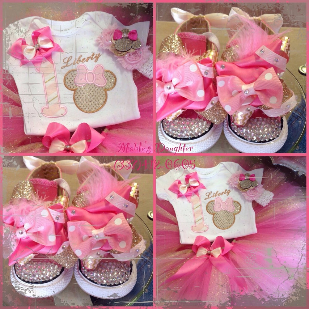 Image of Pink Princess Minnie tutu set and converse