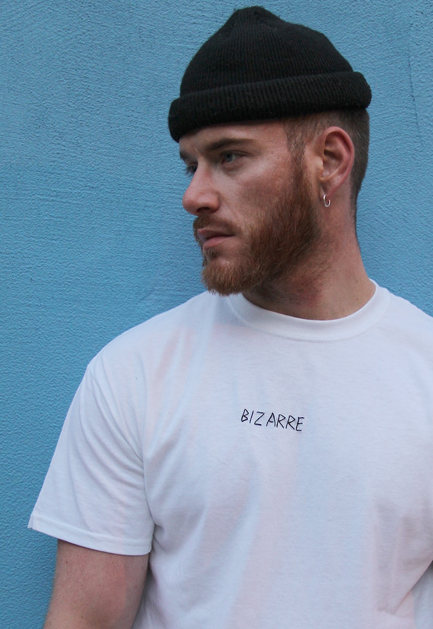 Image of 'BIZARRE' Hand-Stitched Scrawl T-Shirt (Black on White)