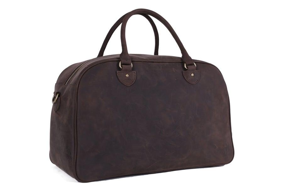 Image of Vintage Top Grain Leather Travel Bag Duffle Bag Holdall 9064