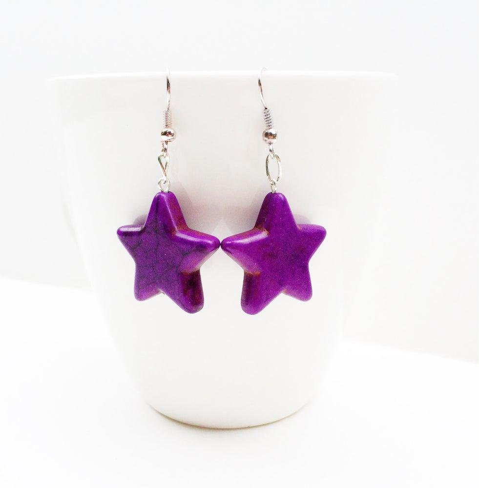 Image of Purple Howlite Star Earrings
