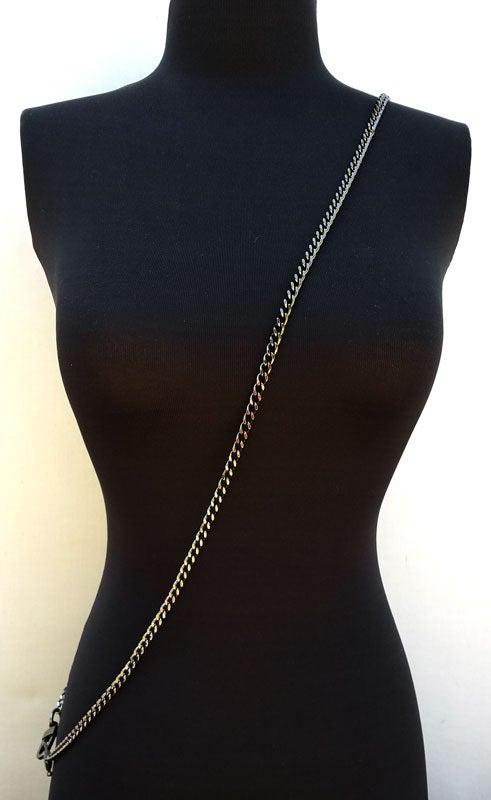 "Image of GUNMETAL Chain Purse Strap - Mini Classy Curb Diamond Cut Chain - 1/4"" Wide - Choose Length & Clasps"