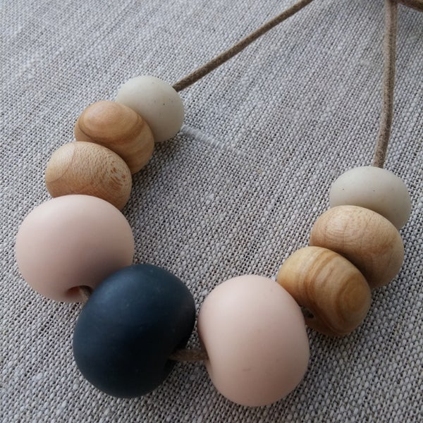 Image of Clay and eco wood necklace | 9 bead navy and blush