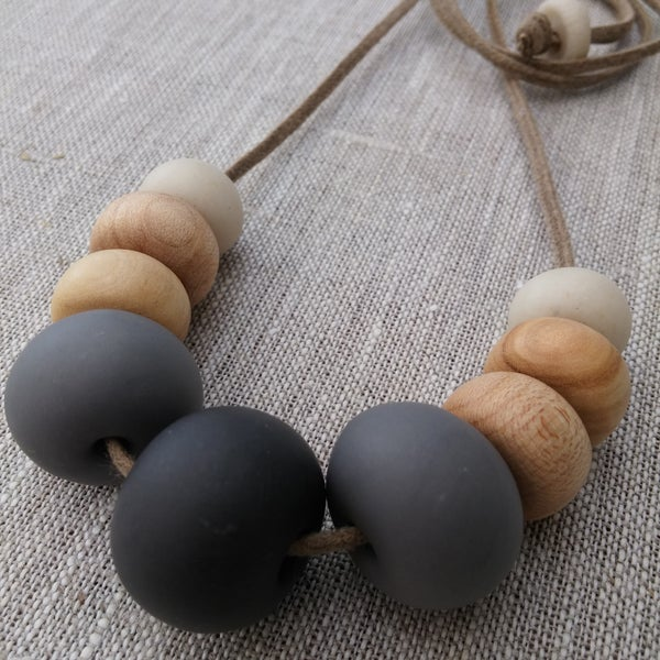 Image of clay and eco wood necklace | 9 bead black, grey & sand
