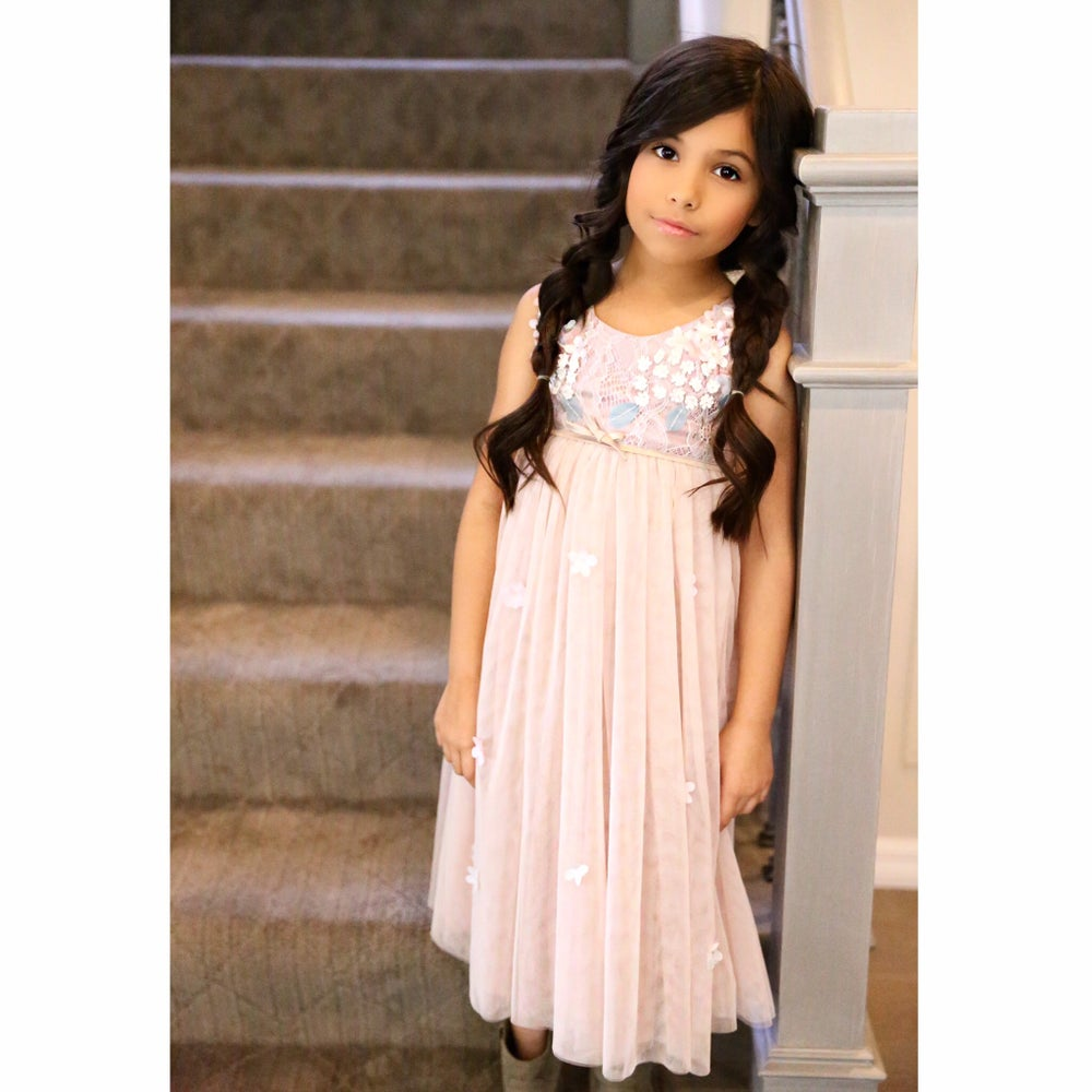Image of Precious Petals Dress: Little Girl Lace Tulle Satin Dress, Vintage Flower Girl, Pale Lavender & Tan