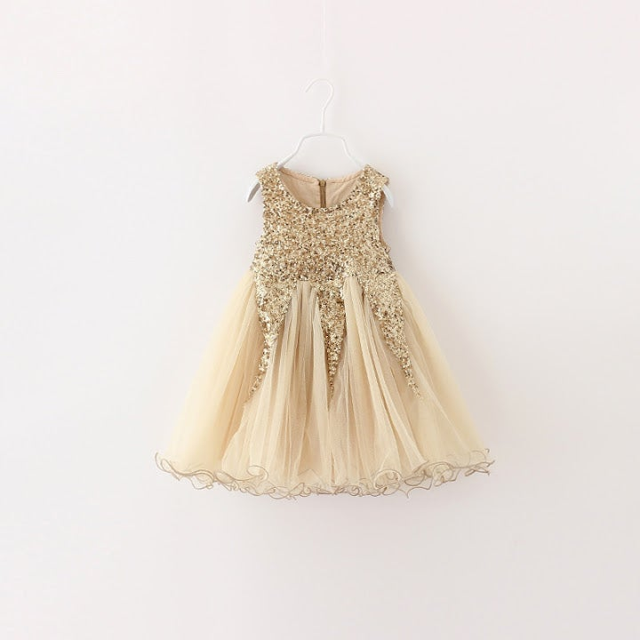Image of Delilah Gold Glitter Party Dress, Flower Girl, Sparkle Glitter Sequin Princess Dress