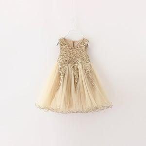 Image of Delilah Gold Glitter Party Dress, Flower Girl, Sparkle Glitter Sequin Princess Dress