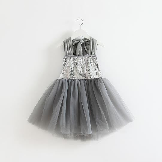 Image of Silver Moon Dress, Silver Sequin Gray Tulle Flower Girl, Halter, Sparkle Sequin Princess