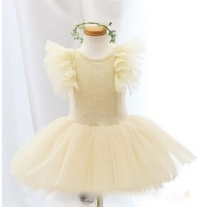 Image of Buttercream Ivory Lace Tulle and Sequin Dress, Ballet, Princess, Flower Girl, Flutter Sleeves