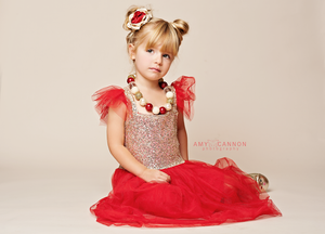 Image of Lively Red & Gold Glitter Dress, Valentine's Day, Flutter Sleeve, Sparkle Sequin Gold Princess
