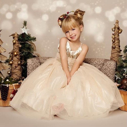 Image of Glitter Gold and Ivory Long Gown, Holiday Dress, Gold Sequin; Tulle Glitter Skirt; Christmas Dress