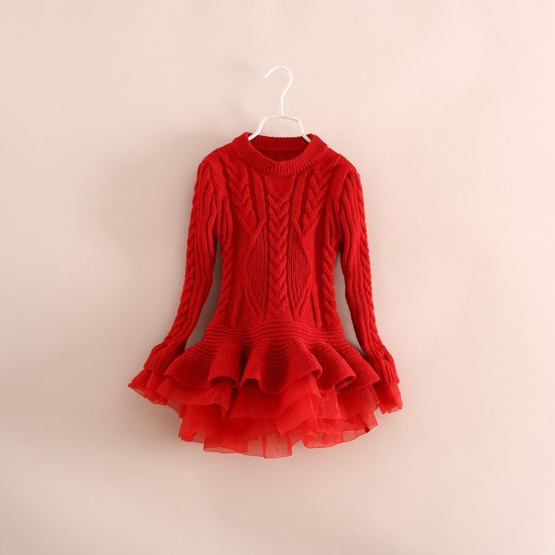 Infantile — Liv Sweater Dress Red, Toddler, Little Girl, Tulle ...