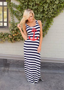 Image of Women's Sail Away Red Sequin Anchor Striped Maxi Dress, Mother Mommy Navy Striped Maxi, Mommy & Me