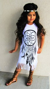 Image of SALE: Boho Babe Black On White Dreamcatcher Fringe Dress, Baby Toddler Girl, Ready to Ship