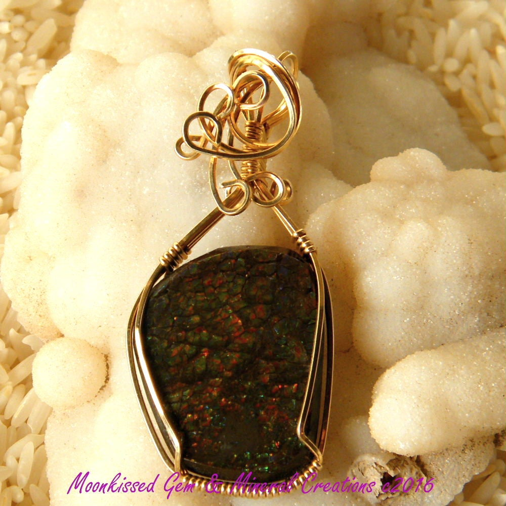 Image of Multicolor Stained Glass Ammolite 14 Karat Gold Fill Wirewrapped Pendant