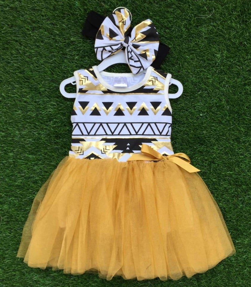 Image of Aztec Babe Black & Gold Tutu Dress, Sisters, Gold Tutu, Toddler Girl Summer Dress, Sleeveless