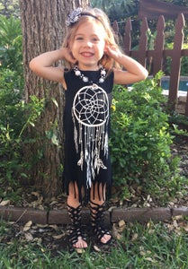 Image of SALE: Boho Babe White on Black Dreamcatcher Fringe Dress, Ready to Ship
