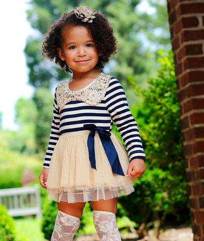 Image of Ava Blue Stripe Gold Sequin Collar Sparkle Dress, Baby Toddler Girl Dress, Christmas Dress
