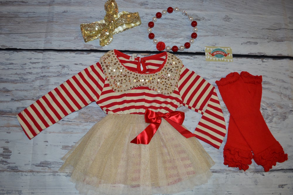 Image of Ava RED Stripe Gold Sequin Collar & Gold Sparkle Dress, Baby Toddler Girl Dress, Christmas Dress