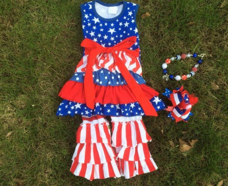 Image of Stars & Stripes Cutie, 4th of July, Red White Blue Girl, Toddler Baby Girl,