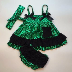 Image of Metallic Shiny Green Little Mermaid Swing Top & Ruffle Bloomers; Summer, Sister Sets