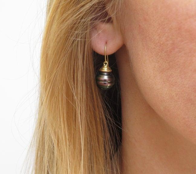 Image of Tahitian Black Pearl Earring