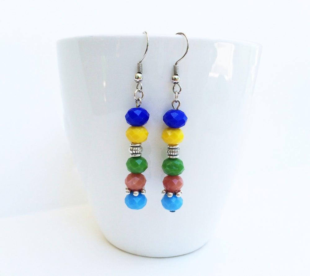 Image of Multicolored Pastel Crystal Earrings