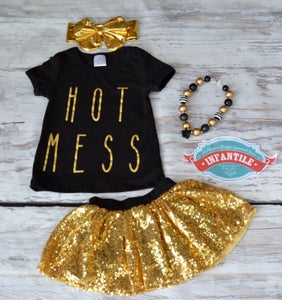 Image of Hot Mess Top & Gold Sequin Skirt Set, Little Girl, Toddler, Baby, Baby Bling