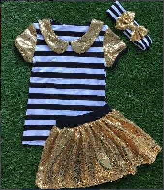 Image of Back to School Glamour Girl Black & White Stripes, Gold Sequin Skirt Set, Little Girl Toddler Baby