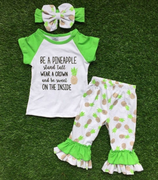 Image of Be A Pineapple Baby Toddler Girl Outfit, Capri Pants, Matching Bow, Stand Tall, Wear Crown