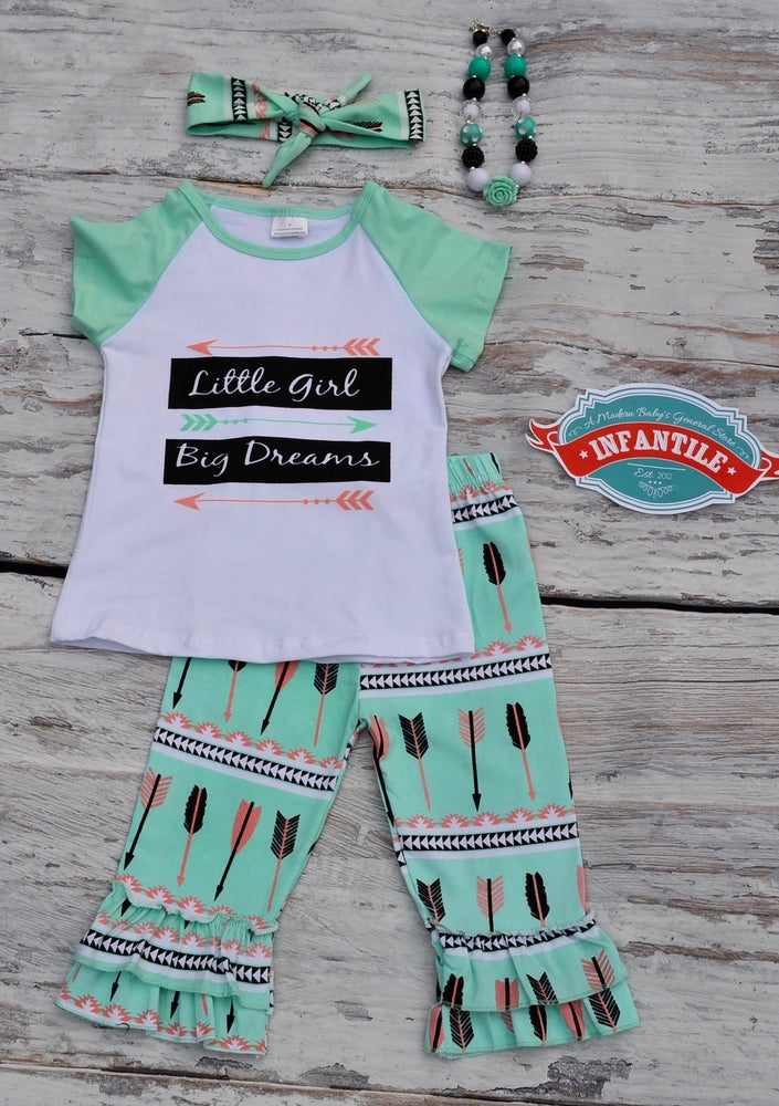 Image of Little Girl Big Dreams Outfit, Girl Toddler Baby Inspiration, Ruffle Capris