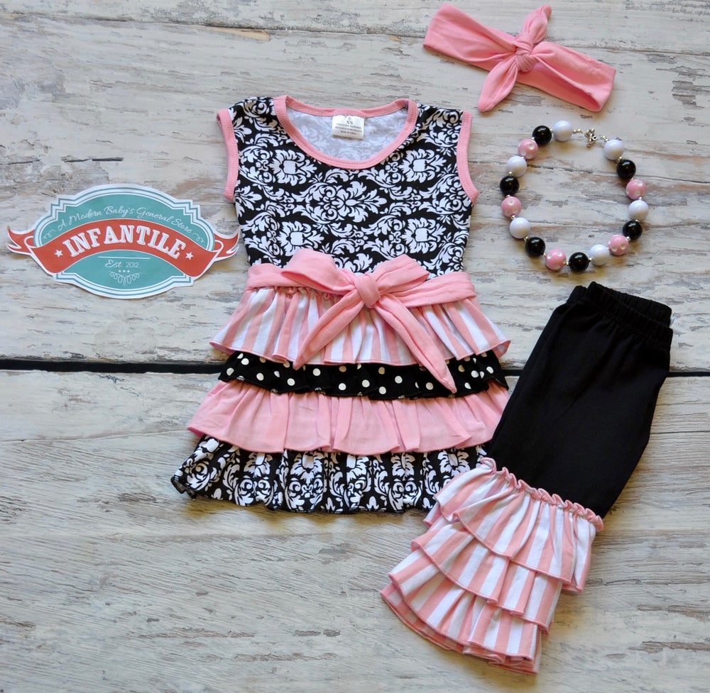 Image of Black and Pink Damask Ruffled Capri Outfit, Triple Ruffle Capris, Sister Sets
