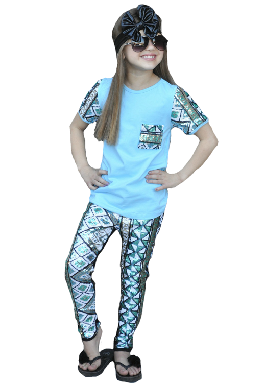 Image of Bright Blue Sequin Aztec Bling Top & Leggings, Baby & Toddler Boho, Sequin Legging