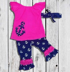 Image of Sassy Sailor Hot Pink & Navy Blue Anchor Top & Capri Pant Set, Nautical Baby Toddler Girl Outfit