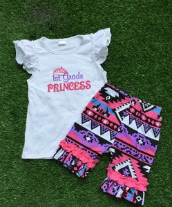 Image of 1st Grade Princess Top & Aztec Shorts, Back to School, First Day Pics, Kinder Princess, Boho Girl