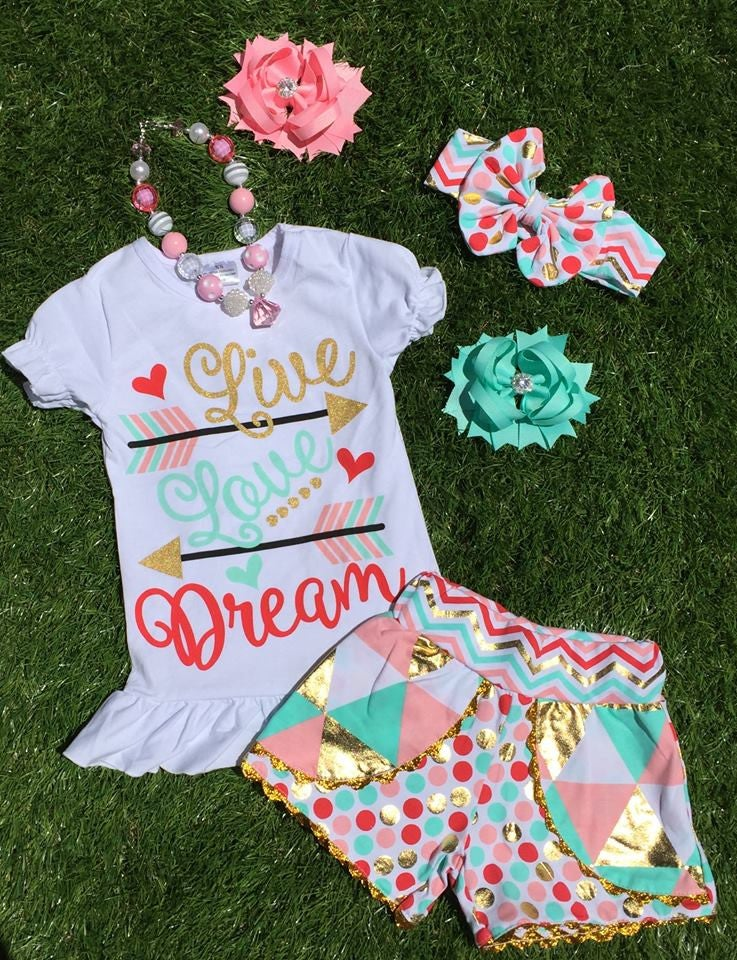 Image of Live Love Dream Boho Babe Top & Colorful Metallic Gold Shorts, Cousin Sister Set, Heart Arrow Design