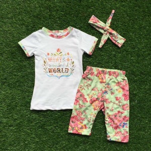 Image of What a Wonderful World Boho Girl Flower Design Top & Shorts, Baby Toddler Little Girl