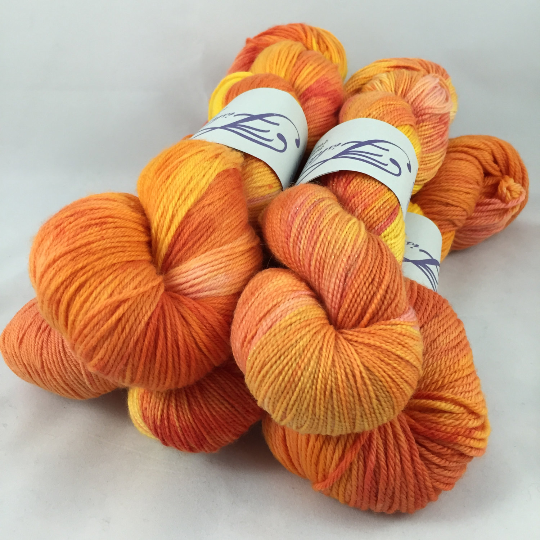 Image of Mornin' Sunshine: Superwash sparkly Panache or Bountiful Hand Painted Yarn