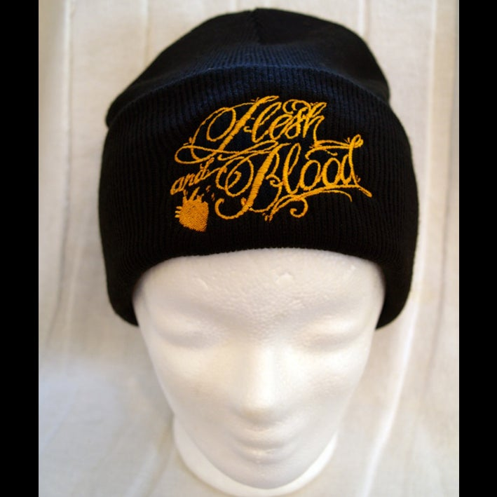 Image of Script Logo Beanie - Black and Gold