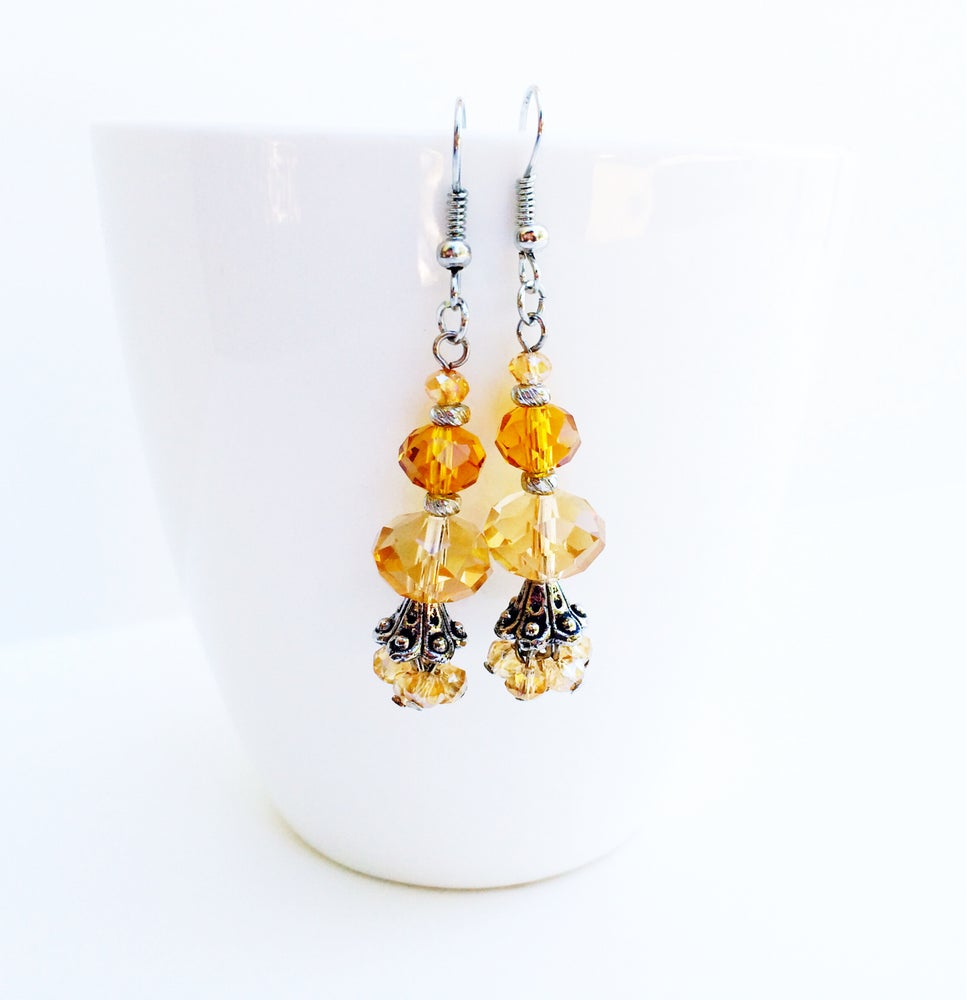 Image of Champagne Crystal Earrings